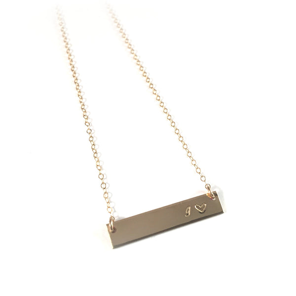 Gold Bar Necklace | Hand Stamped Initial