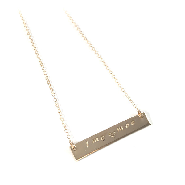 Gold Bar Necklace | Hand Stamped Initials