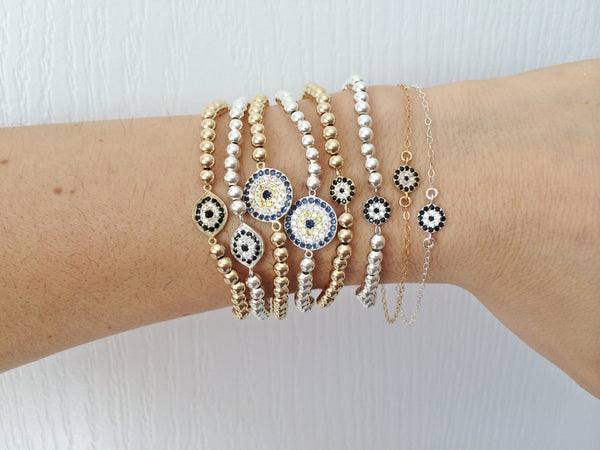 Gold Filled or Sterling Beaded Pave Lucky Eye Bracelet
