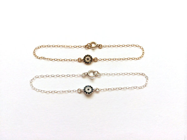 Radiant Micro Pave Set Lucky Eye Bracelet | Sterling or Gold