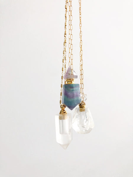Faceted Gemstone Vial Necklace