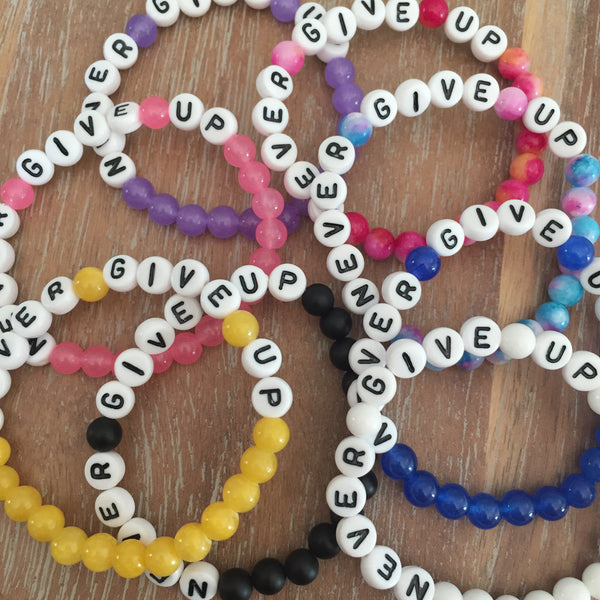 NEVER GIVE UP Bracelet | Livvi's Rainbow For Charity