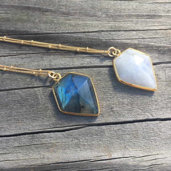 Amulet Necklace | Rainbow Moonstone