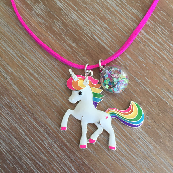 Pre-Order Mystical Unicorn Glitter Globe Necklace by Mia | Livvi's Rainbow for Charity