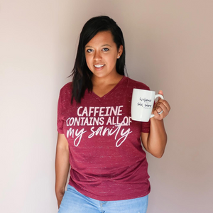 CAFFEINE CONTAINS - ADULT TEE/RAGLAN - MAMA + LULU