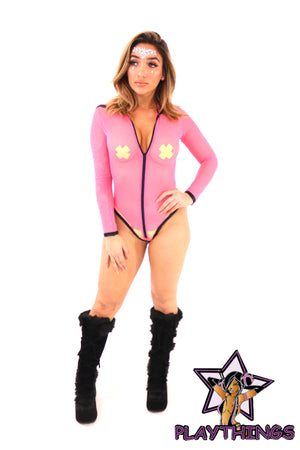 Rave Outfit Hooded Long Sleeved Sheer Bodysuit Pink