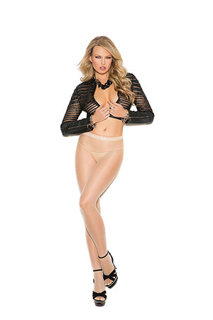 Sheer pantyhose with woven lace back seam. white