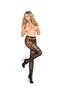 Sheer pantyhose with geometric pattern.