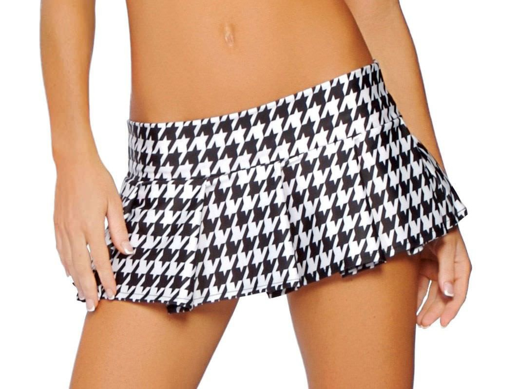 Pleated Houndstooth Skirt - PlaythingsMiami