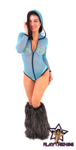 Ravewear Hooded Long Sleeved Sheer Bodysuit