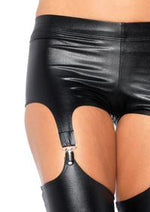 Wet look garter leggings. - PlaythingsMiami