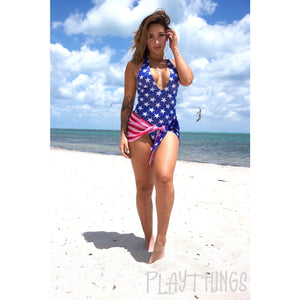 Halter High Cut Romper Patriotic - PlaythingsMiami