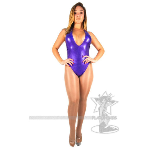 Hater High-Cut Romper Purple Metallic