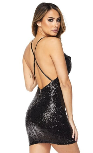 Sequin Dress with Drape Front - PlaythingsMiami