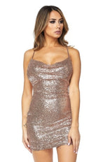 Sequin Dress with Drape Front Rose Gold - PlaythingsMiami