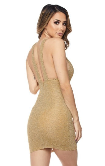 Gold Lurex Tank Dress - PlaythingsMiami