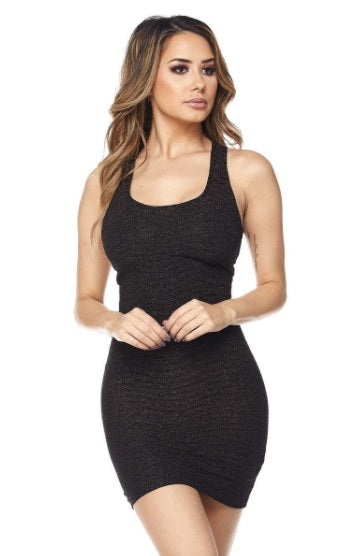 Black Lurex Tank Dress - PlaythingsMiami