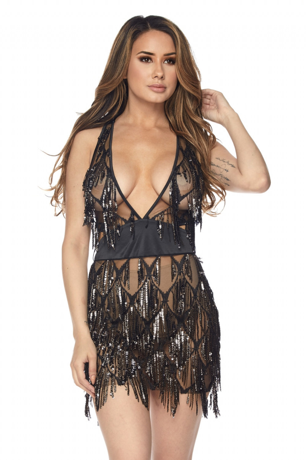 Fringe sequin dress