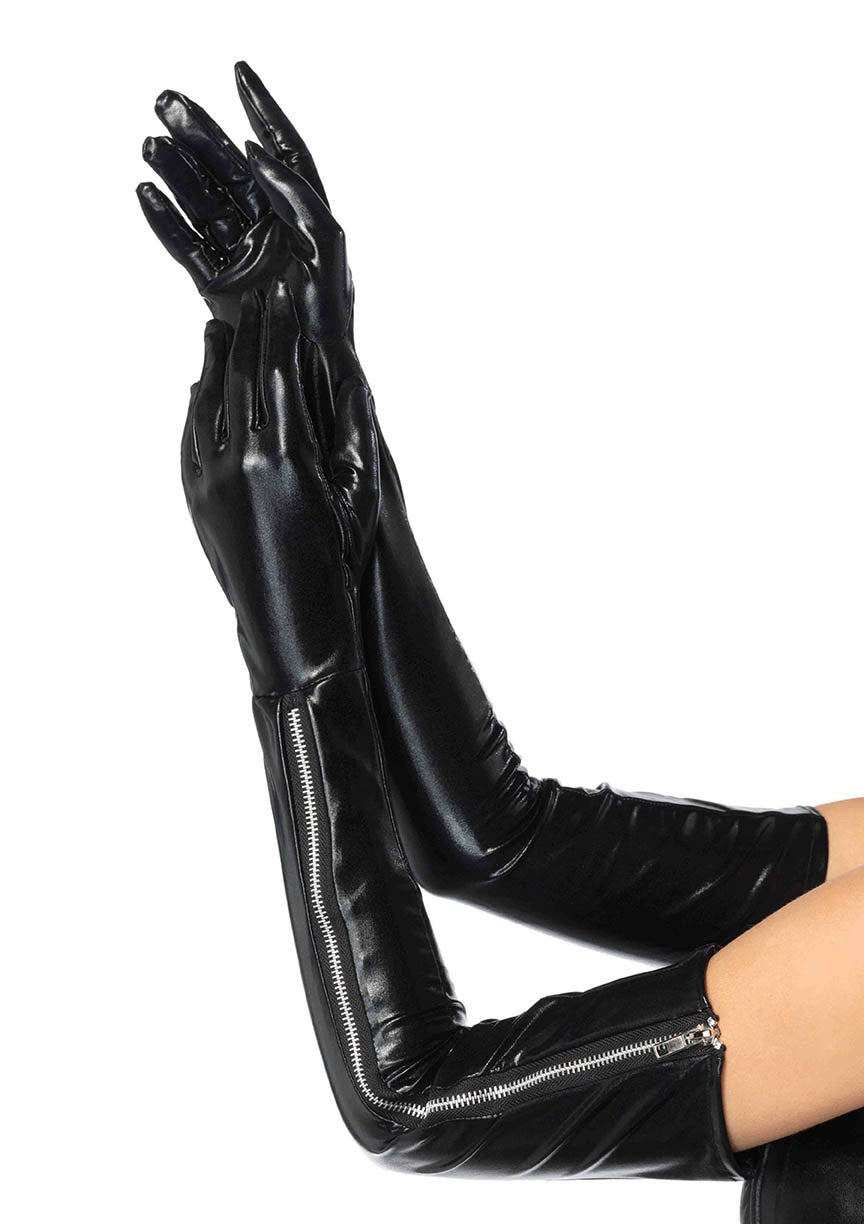 Wet look opera length zipper gloves 2667