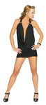 3134 - 1pc Cowl Neck Black Mini Dress - PlaythingsMiami