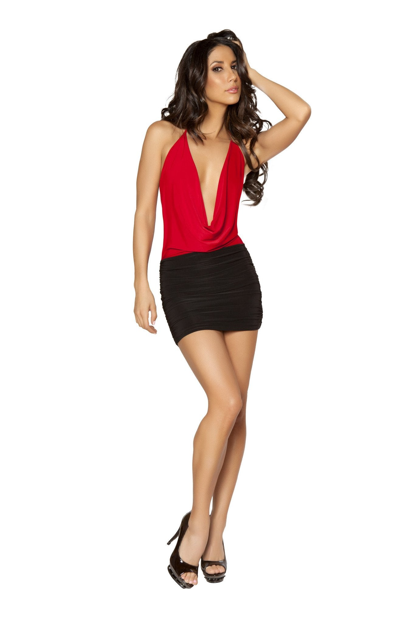 3135 - 1pc Two-Tone Low Cowl Neck Black and Red Mini Dress - PlaythingsMiami
