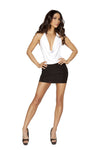 3135 - 1pc Two-Tone Low Cowl Neck Black and White Mini Dress - PlaythingsMiami