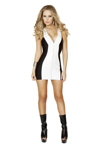 3139 - 1pc White Mini Dress with Full Zip up Front - PlaythingsMiami