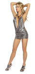 3141 - 1pc Cowl Neck Gunmetal Mini Dress - PlaythingsMiami