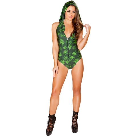 Pot Leaf Hooded Romper with Zipper Closure