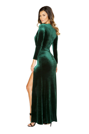 Roma Clubwar Green Maxi Length Low Neck Velvet Dress with High Slit Back