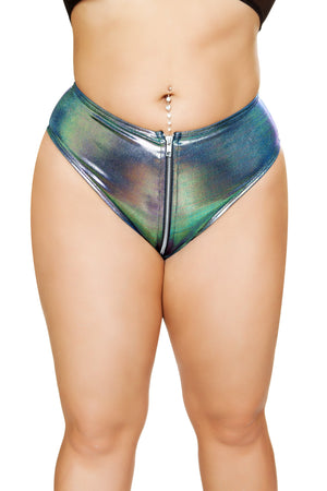 1pc High-Waisted Shorts with Zipper Front Closure