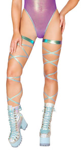 "100"" Iridescent Foil Leg Strap with Attached Garter"