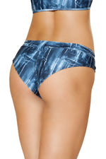 3641 - 1pc Denim Print Mini Booty Shorts - PlaythingsMiami