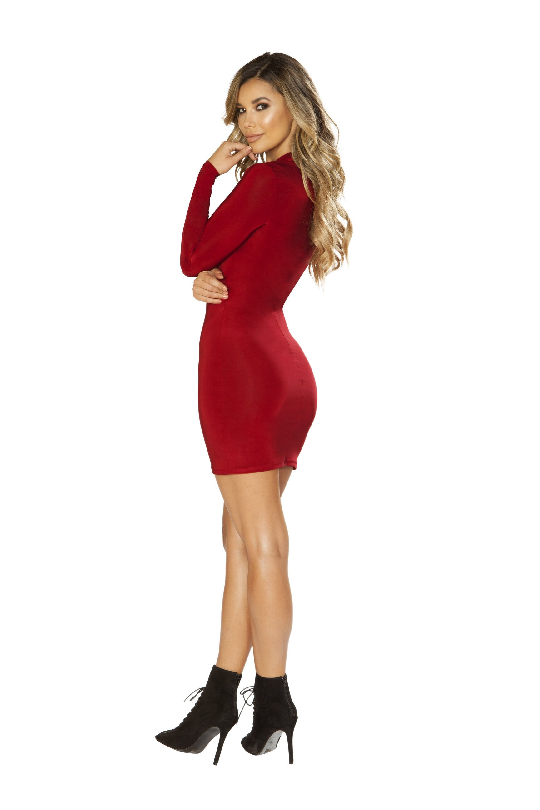 3642 - Long Sleeved Dress with Cutout Detail - PlaythingsMiami