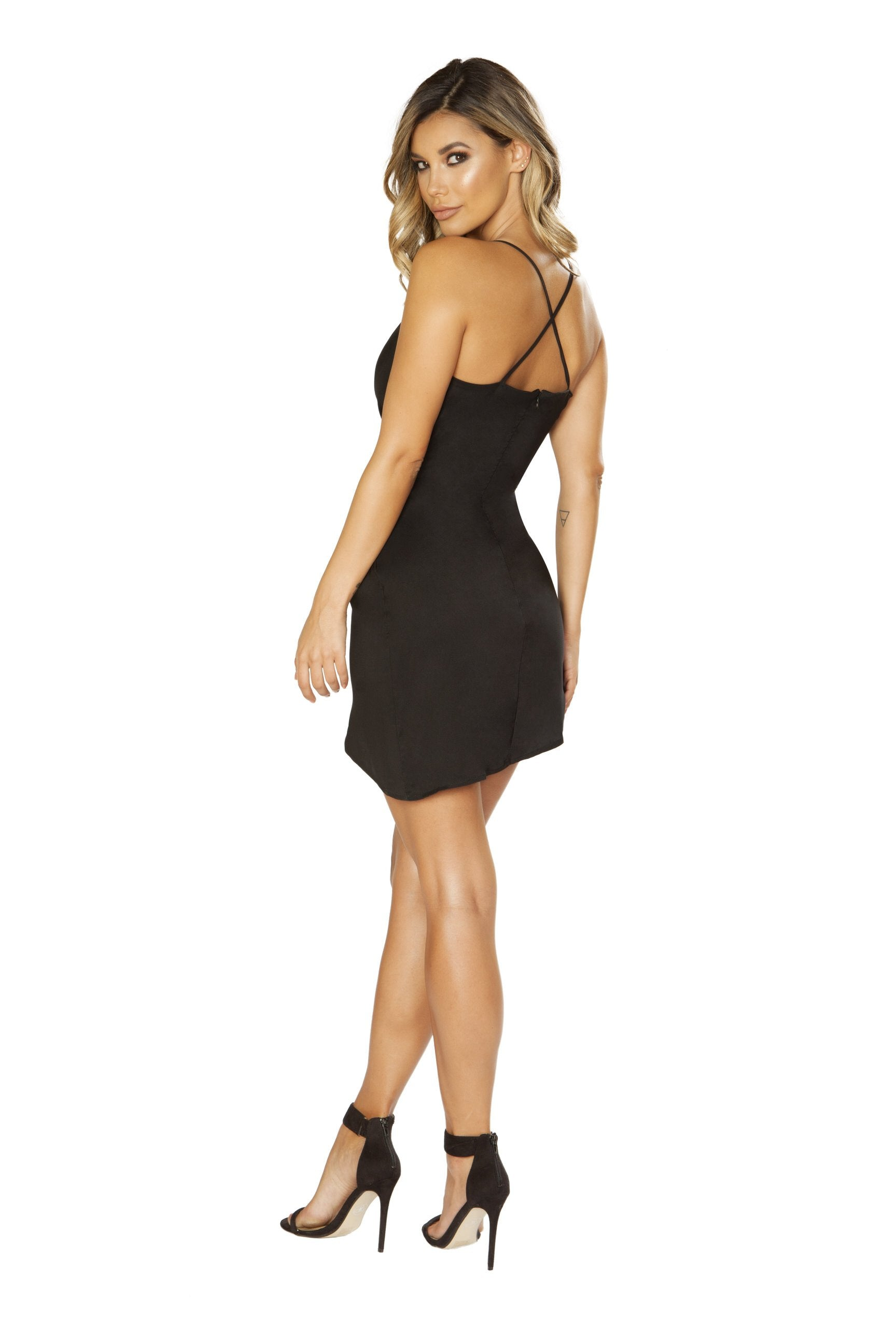 3644 - Spaghetti Strap Satin Dress with Overlapping Scrunch Detail - PlaythingsMiami