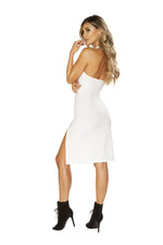 3660 - Low Neck Dress with High Slit Detail - PlaythingsMiami