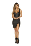 3664 Leather Look Dress with V-Wire Detail & Slit