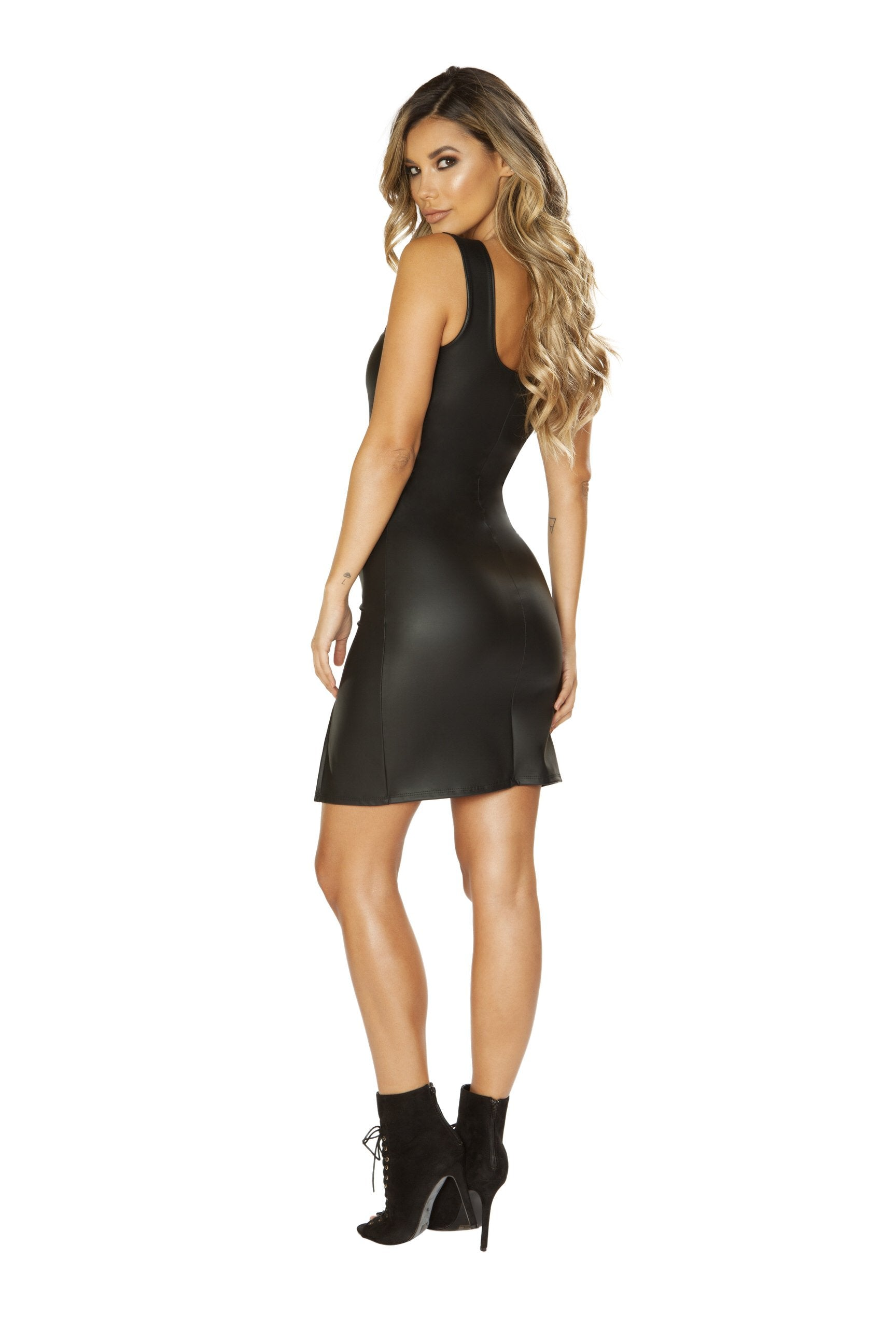 3664 - Leather Look Dress with V-Wire Detail & Slit