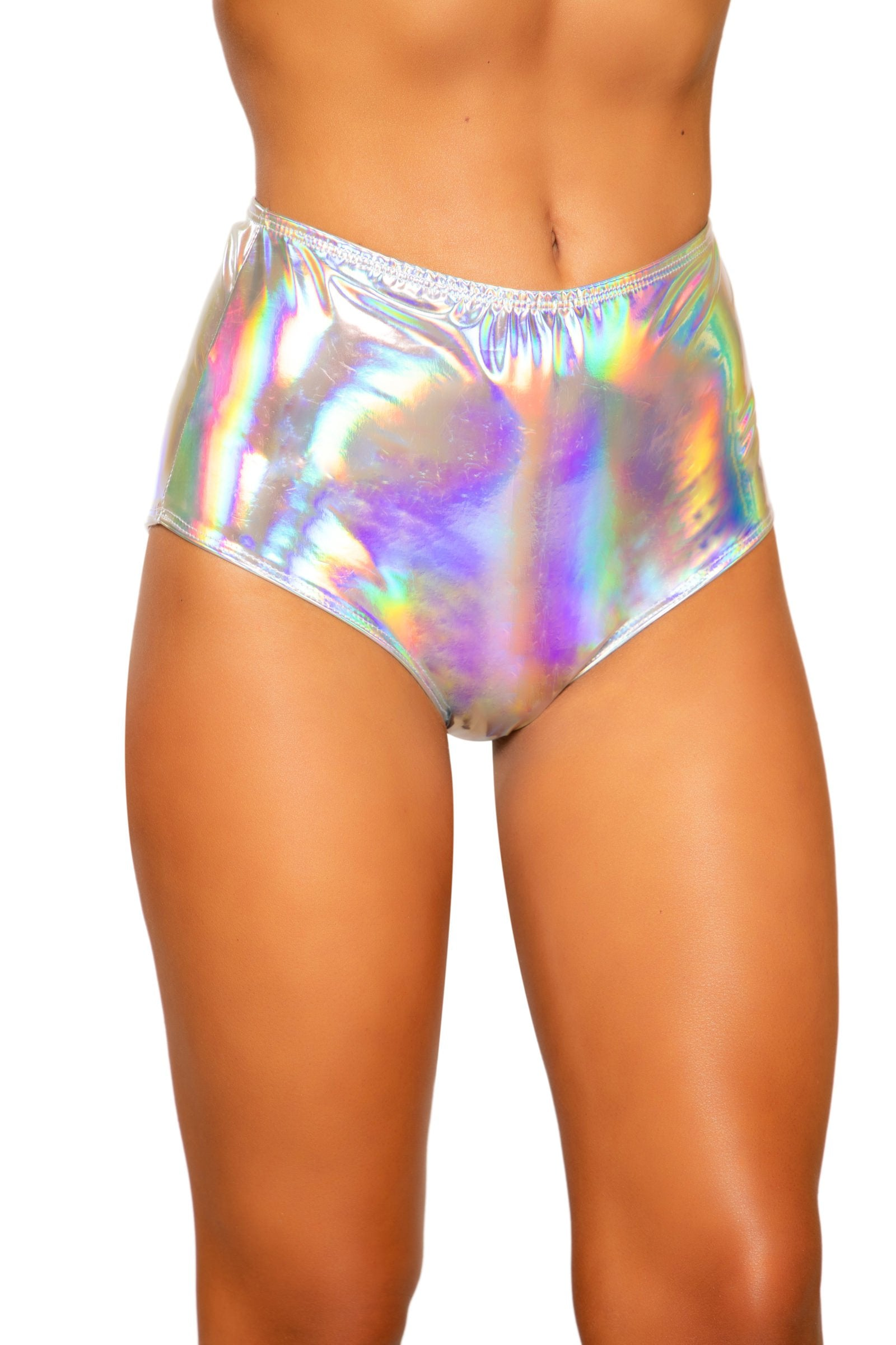 3704 - Iridescent High-Waisted Shorts with Zipper Closure