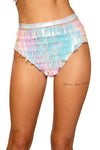 3718 - Raindrop Sequin & Shimmer High-Waisted Shorts