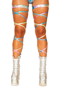 "3736 - 100"" Rainbow Splash Leg Strap with Attached Garter"
