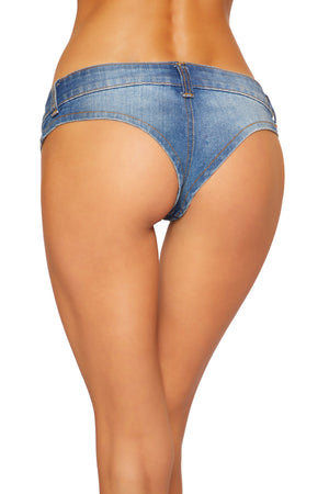 3773 - Denim Jean Shorts with Belt Loop and Button Front Detail