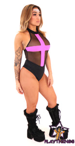 Mesh Black Body Suit with Cross symbol
