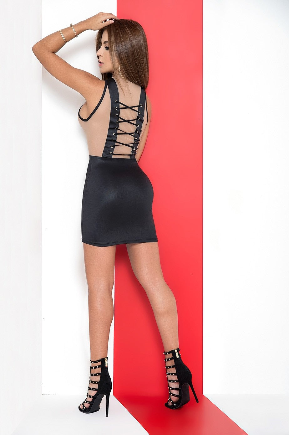 Nude/Black Criss Cross Mini Dress - PlaythingsMiami