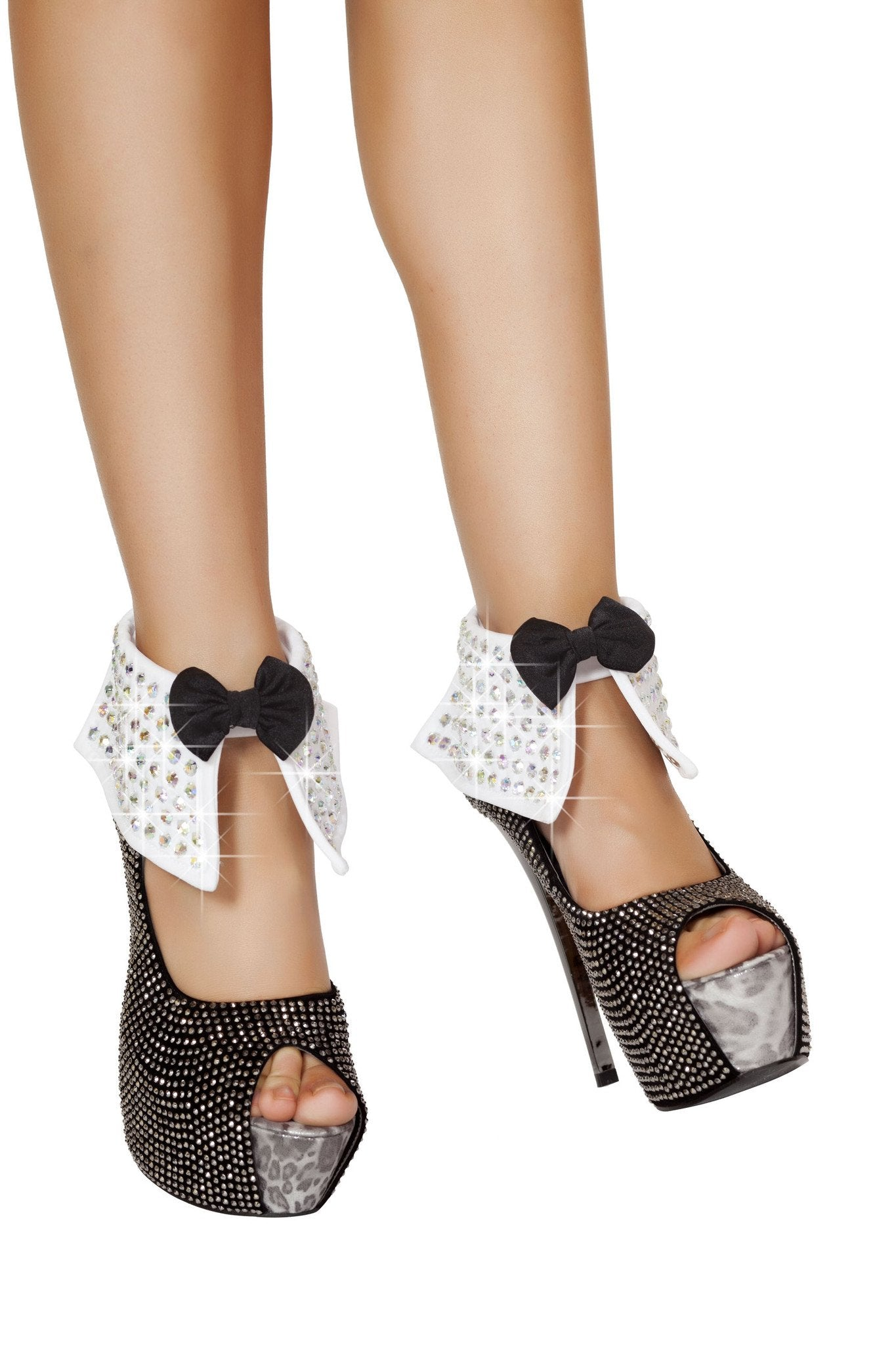 4506 - Rhinestone Ankle Cuffs with Bow - PlaythingsMiami