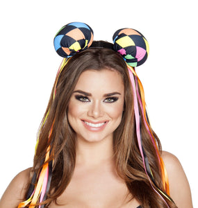 Multi Colored Diamond Head Piece with Ribbons - PlaythingsMiami