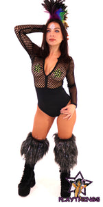 Fishnet Long Sleeve Bodysuit only at playthings
