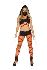 4846 - Roma Costume 2pc Black Red Badass Ninja Assassin