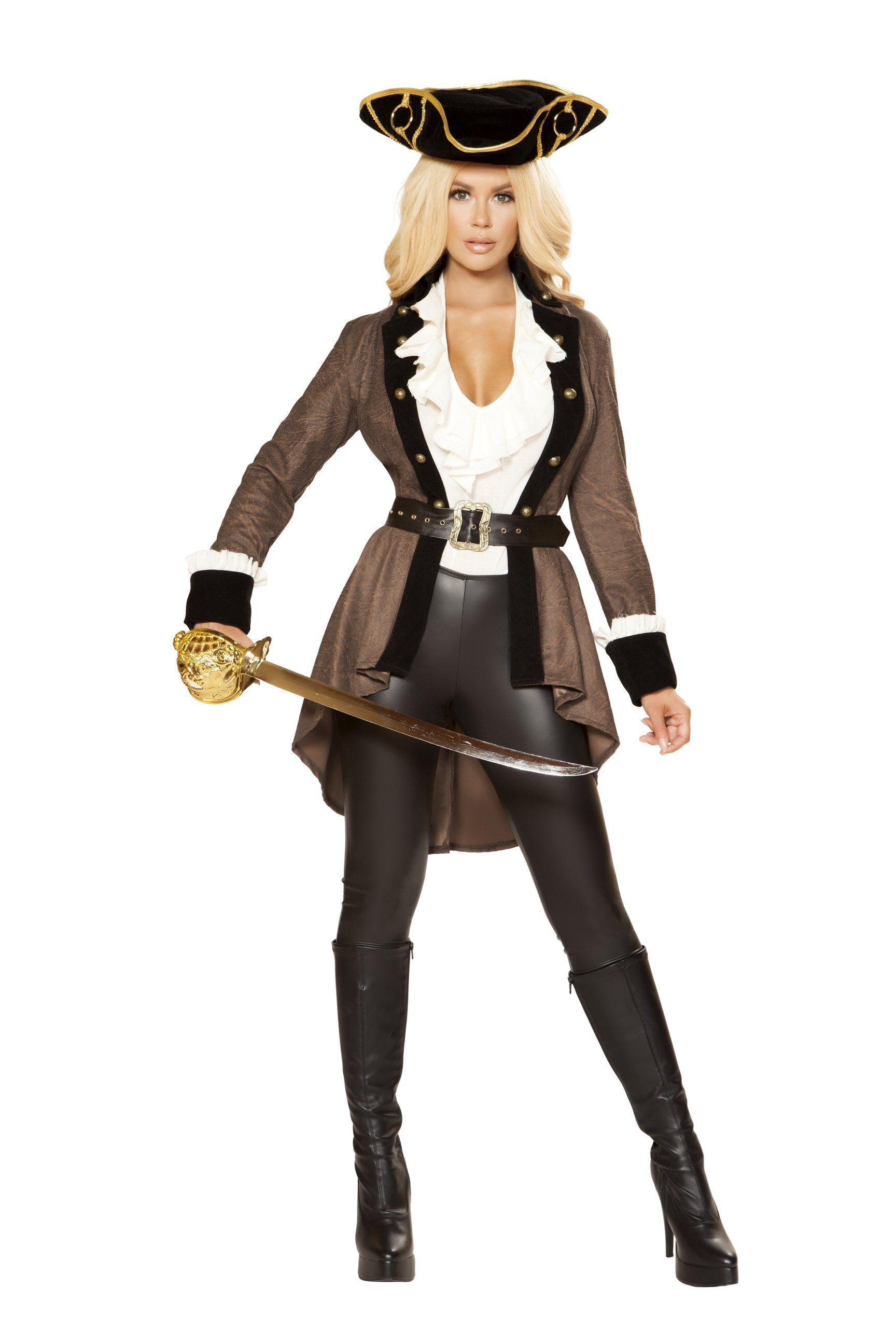 4858 - Roma Costume 5pc Brown and Black Pirate Booty Diva