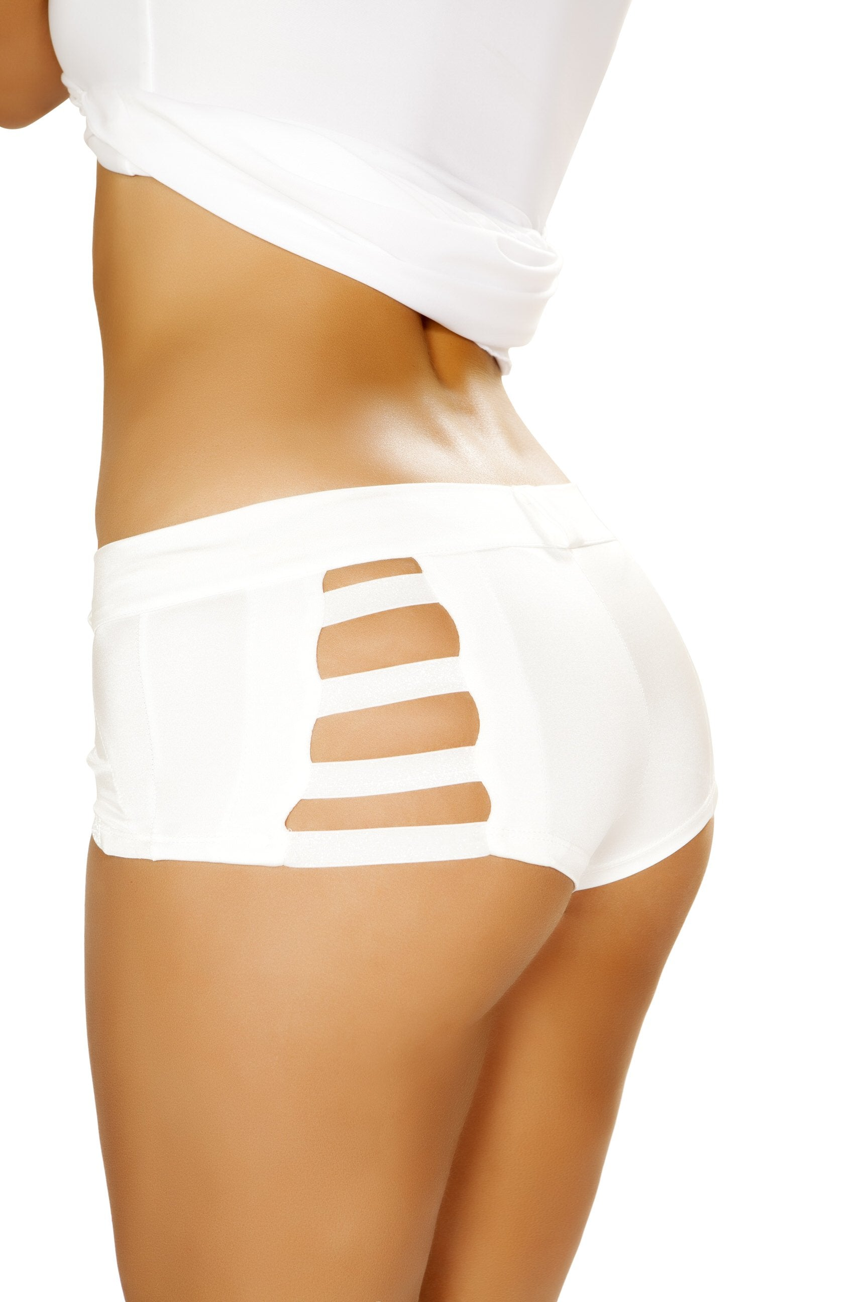 4870 - Roma Costume White Button Front Shorts with Strap Detail